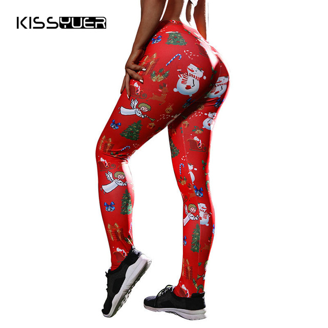2d2b97acbc5945 Printed Tree Red Christmas Leggings Women Casual High Waist Push Up Workout Leggings  Nightmare Before Christmas Clothes Pants