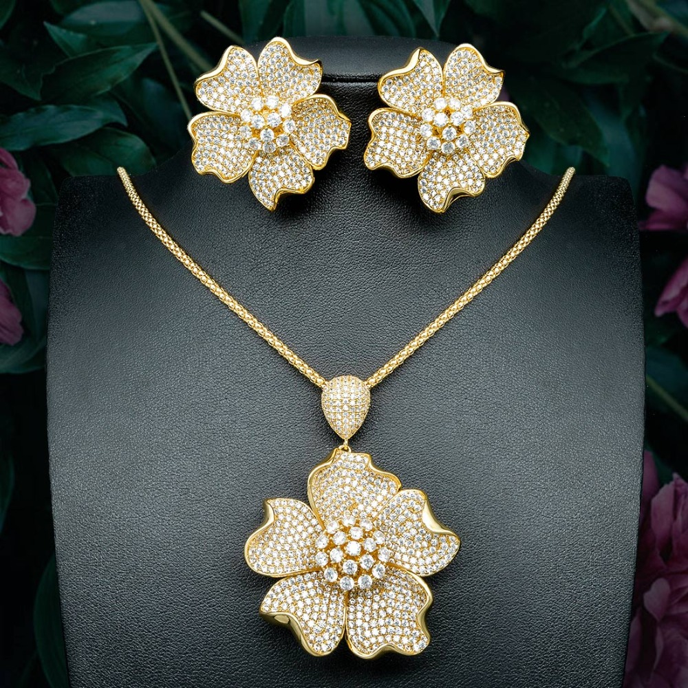 ModemAngel Flower Floral Fashion Luxury Super AAA Cubic Zirconia Women Engagement Pendant Necklace And Earring Jewelry