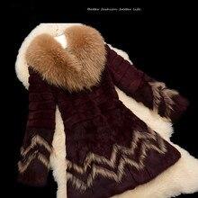 2016 New 100% Real Rabbit Fur coat With Raccoon Fur Collar Fashsion Women's Winter Warm fashion loose Jacket