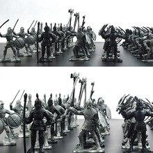 60 sztuk/zestaw średniowieczna wojna wojskowa symulacja wojowników starożytny żołnierz statyczne figurki wojskowe Model dla dzieci prezenty