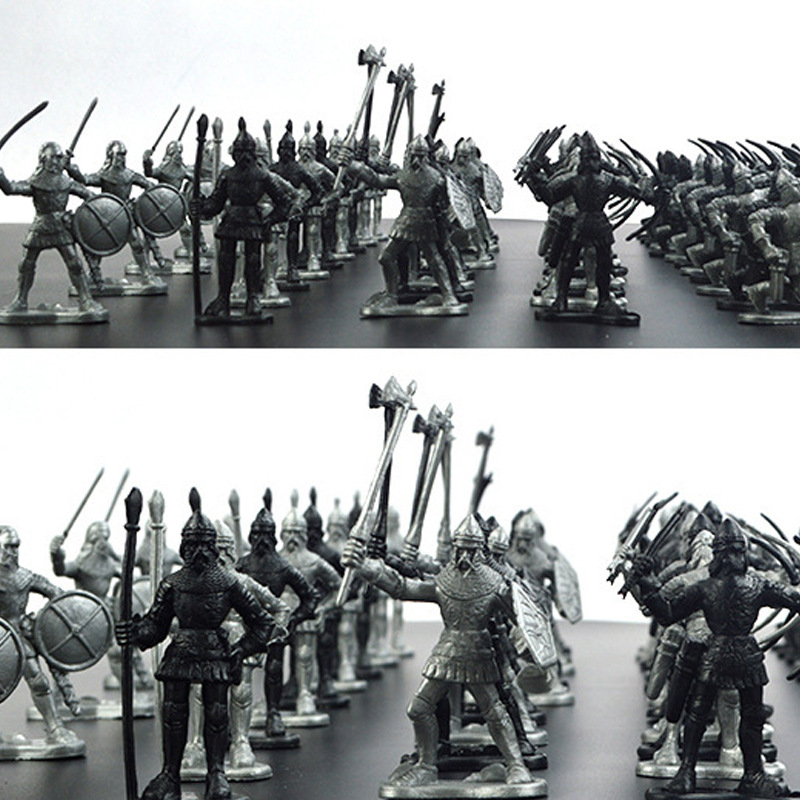 60pcs/set Medieval Military War Simulation Warriors Ancient Soldier Static Military Figures Model For Children Gifts