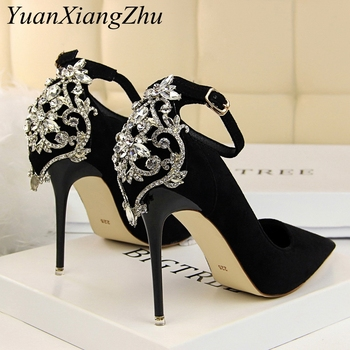 Women Heels Pumps 2019 Summer New Ankle Lace Diamond Dresses Womens Wedding High Heel High Quality Sexy Ladies Party Shoes new womens shoes pumps super high heels woman wedding party dress shoes ladies fashion elegant sexy classic italian high quality