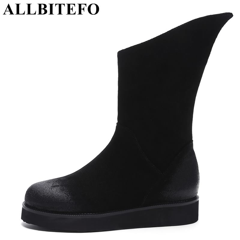 ALLBITEFO brand genuine leather women martin boots fashion brand high heels ankle boots winter snow boots girls motorcycle boots allbitefo full genuine leather mixed colors chains design fashion brand women knee high boots winter snow zip women boots