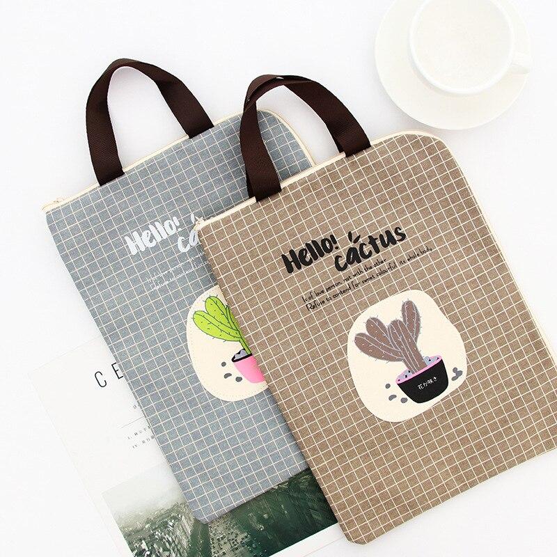 MIRUI A4 Document Bag Cactus Folder Bag Cute Kawaii Larger Simple Oxford Cloth Folder  Filing Products Student Office Supplies