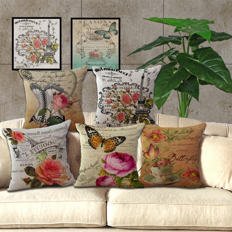 Hot fashion home decorative pillowcase home hotel hug seat pillow cover case 1 piece 45x45cm country vintage butterfly style in pillow case from home