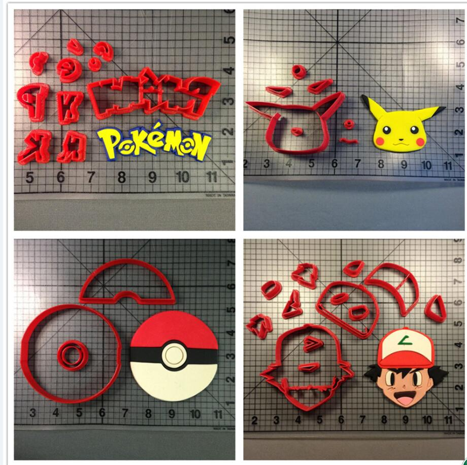 Game pokemon ball character face fondant cake decorating for 3d printer cake decoration