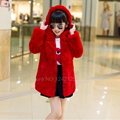 New autumn winter children girls warm genuine leather real rex rabbit fur coat jacket middle-long outerwear overcoat clothing