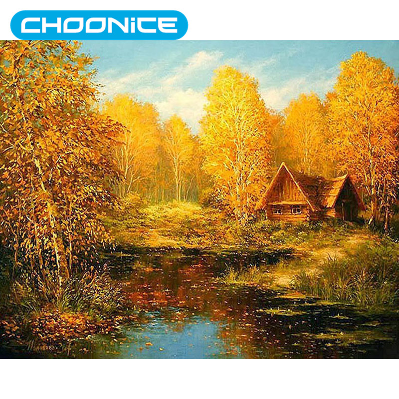 Garden Lodge Fall Autumn Pictures With Rhinestones Birch Forest Painting Diamond Embroidery 3D DIY Diamant Schilderen Paintings