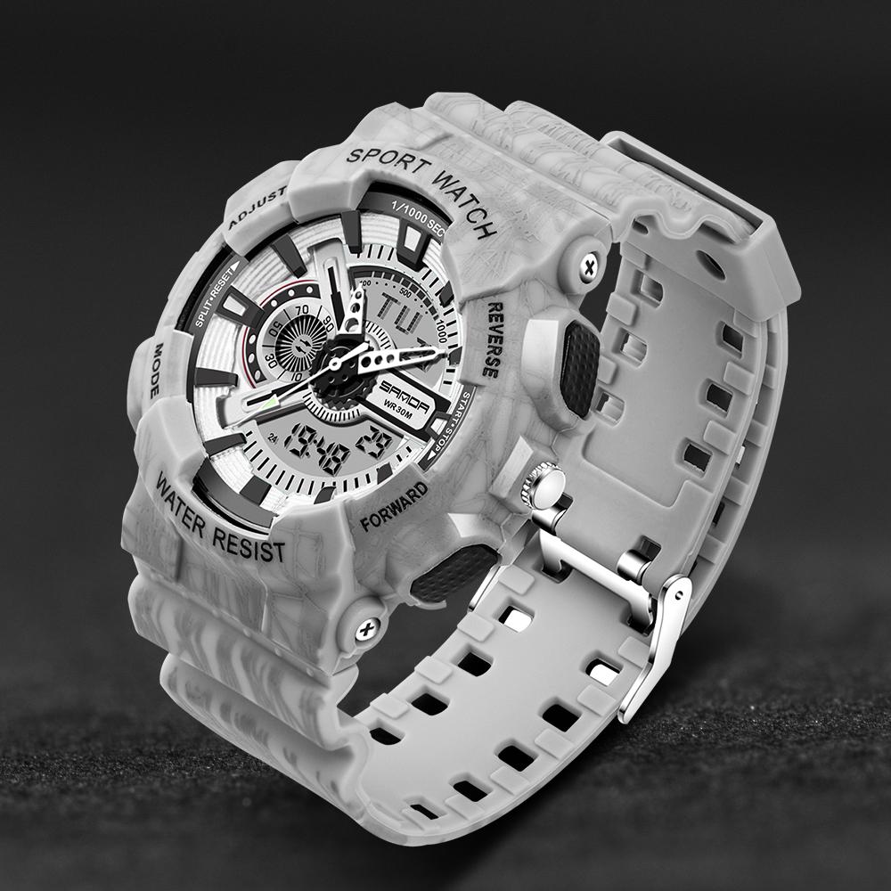 Prix pour Hommes montres 2016 sanda mode montre hommes g style militaire étanche choc montres de luxe analogique numérique sport montres