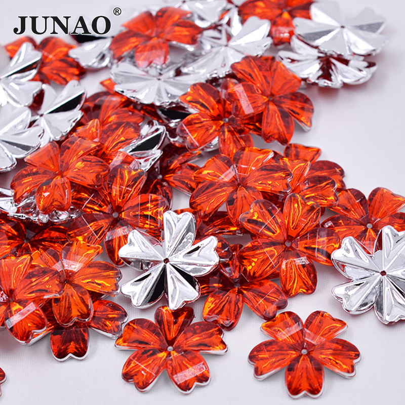 JUNAO 30mm Big Size Sewing Red Flowers Rhinestones Appliques Sew On Strass  Flatback Acrylic Crystals Stones for Clothes 5fc1c83491f2