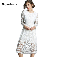 Ryseleco High Fashion Spring Fall Solid Hollow Out Crochet Floral Lace Dress Women Round Collar Knee