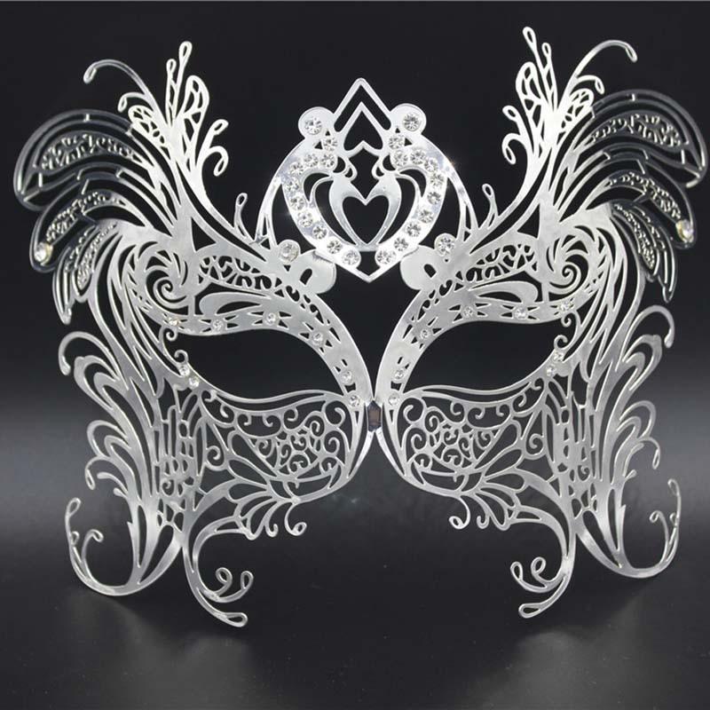 Gold Phantom Laser Cut Venetian Mask Venetian Masquerade White Rhinestones Metal