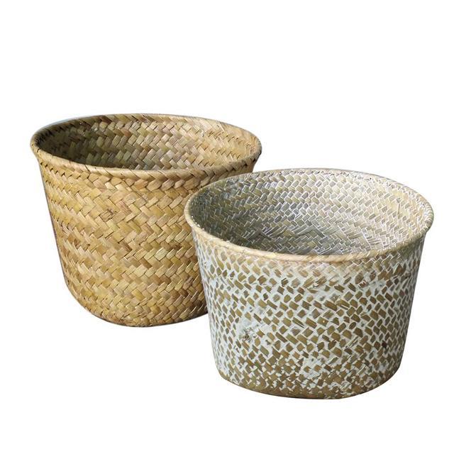 Rattan Gr Storage Basket Handmade Sundries Organizer Plant Box Wicker Baskets Garden Nursery Flower Pots Home