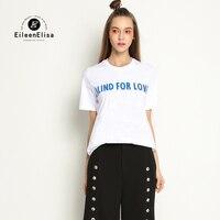 Eileen Elisa High Fashion T Shirts Women White T Shirt Women Brand 2017 Designer Runway Cotton