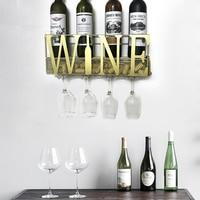 WINE Design Wall Mounted Metal Wine Champagne Rack With 4 Long Stem Glass Holder and Wine Cork Storage, Storage Shelf Rack