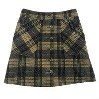 Woolen Short Skirt Woman Check Half body Woman Woolen Half body Skirt Woman Winter Korean Skirt