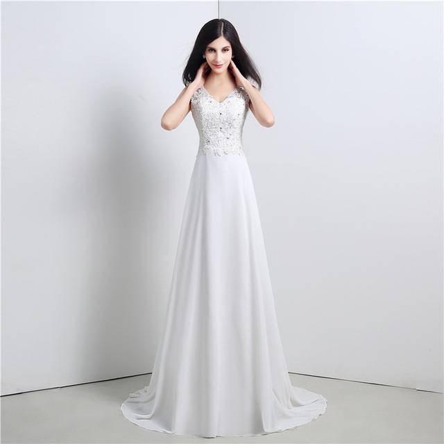 Us 147 54 Elegant Simple Beach Wedding Dress Casual V Neck Chiffon Floor Length Boho Wedding Gowns Bride Dresses Robe De Mariage In Wedding Dresses