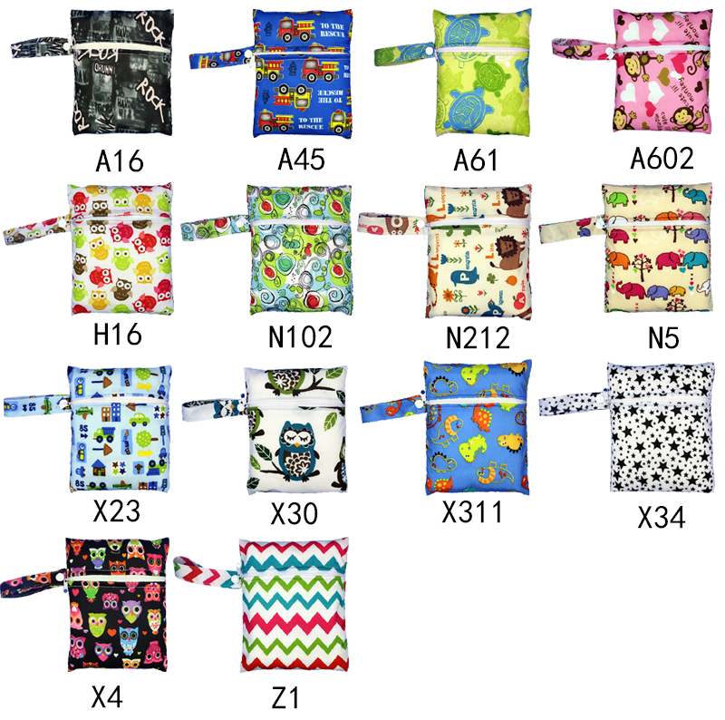 HTB1P4uKmfNNTKJjSspeq6ySwpXag Reusable Nursing Pads Single Zippers Sanitary Pads Washable Wet Bags Nappy Bags Printed Waterproof Wetbag Diaper Bags 16*20cm