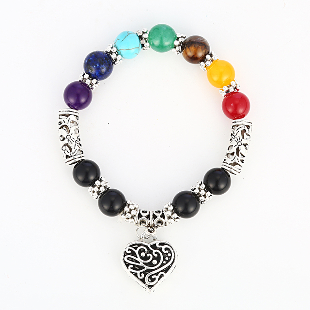 7 Chakra Bracelet Healing Heart Charm Bracelets 2017 Wrist Mala Beads Stone Yoga Jewelry