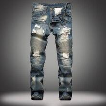 5b5ae1062c Moda Europa hombres Vaqueros slim retro Pantalones rectos Metrosexual  mendigo de la personalidad de los hombres pantalones vaque.