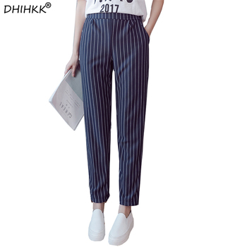 Ankle-Length Elastic Waist Strip Spring Summer Trousers