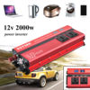 ANENG DC 12V To AC 220V 4 USB Ports 2000W Peak Car LED Wave Power Inverter