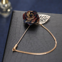Vintage Mixed Fabric Rose Brooches Tassel Chain Men Suit Collar Brooch Broche Lapel Pin  Brooches for Women Jewelry Accessories vintage fabric houndstooth bow brooch lapel pin necktie ribbon brooches jewelry luxury crystal broche gift for women accessories