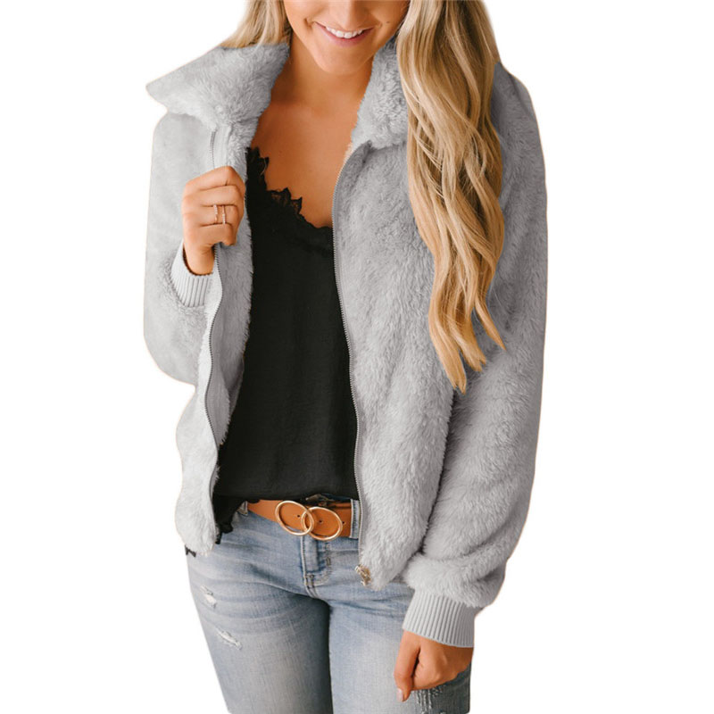 Mulheres sherpa cardigan camisola 2019 primavera fino velo zip cardigan quente inchado topos feminino casual street wear suéteres