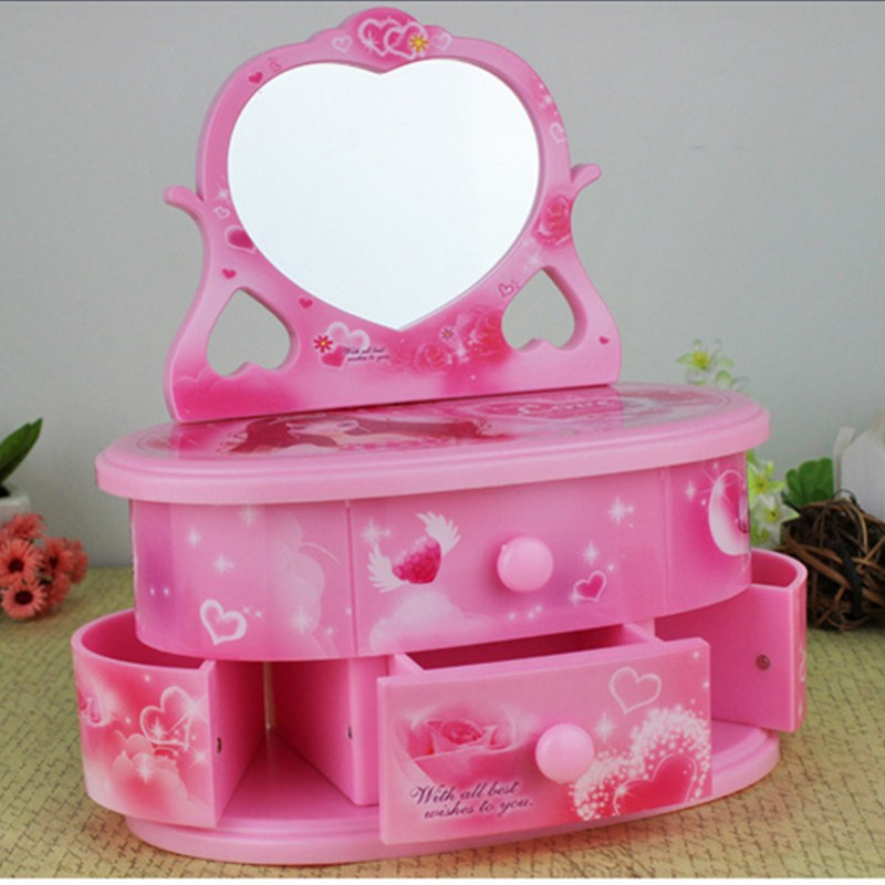 Music Box Makeup Jewel Case Carry Rotation Dance Ballet Girl Craftwork Home Desktop Decorations Birthday Gift L1810