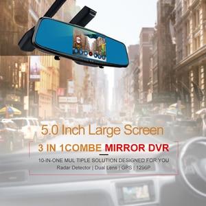 """Image 3 - Ruccess 5.0 """"rejestratory samochodowe 3 w 1 lusterko wsteczne rejestrator policja wykrywacz radarów z GPS FHD 1080p Dashcam podwójny obiektyw do telefonu kamera DVR"""