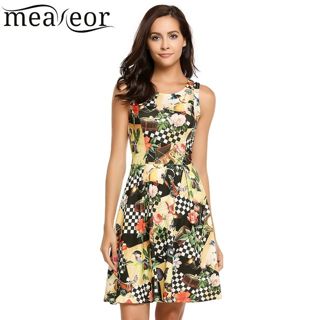 Meaneor Floral Print Skater Dress Women Fit and Flare A-Line Dress 2018 New  Empire ff5d4e596