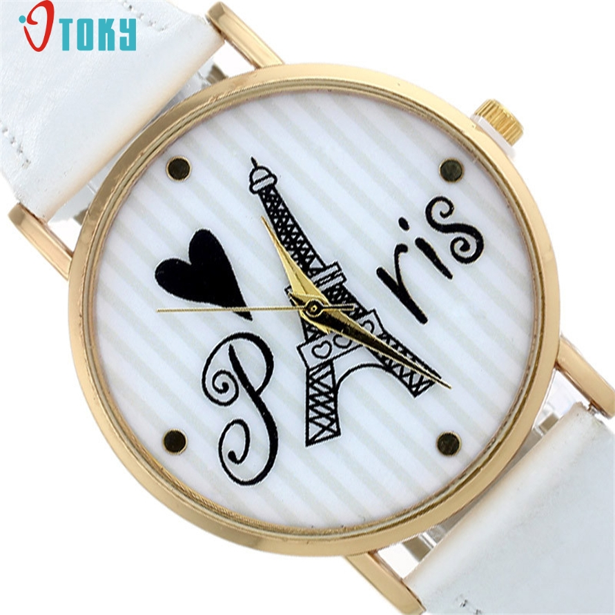 Watch OTOKY Willby Cute Striped Paris Eiffel Tower Watch Women Girl PU Leather Quartz Analog Wrist Watches 161213 Drop Shipping lovesky 2016 new arrival women pu leather watch who cares i am late anyway letter watches wrist watch free shipping