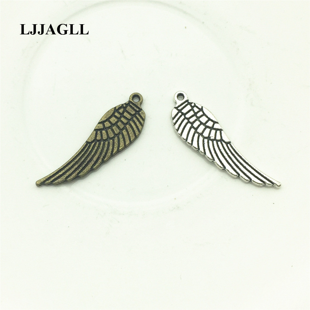Antique Silver Plate Angel Wing Beads 25mm 18 pc