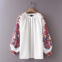 White Blouse Femme Women Floral Embroidery Shirt Fashion Summer Office Vintage Elegant Casual Blouse Shirt Women