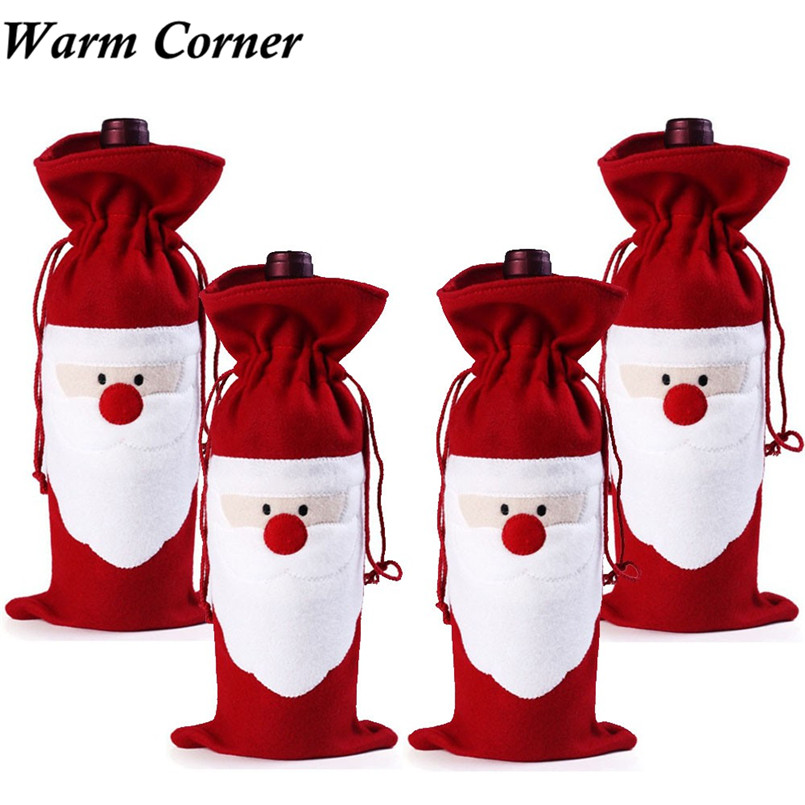 Warm Corner 4PC High Quality Wine Bottle Cover Stock Bags Decoration Home Party Santa Claus Christmas Cotton Free Shipping Nov 4