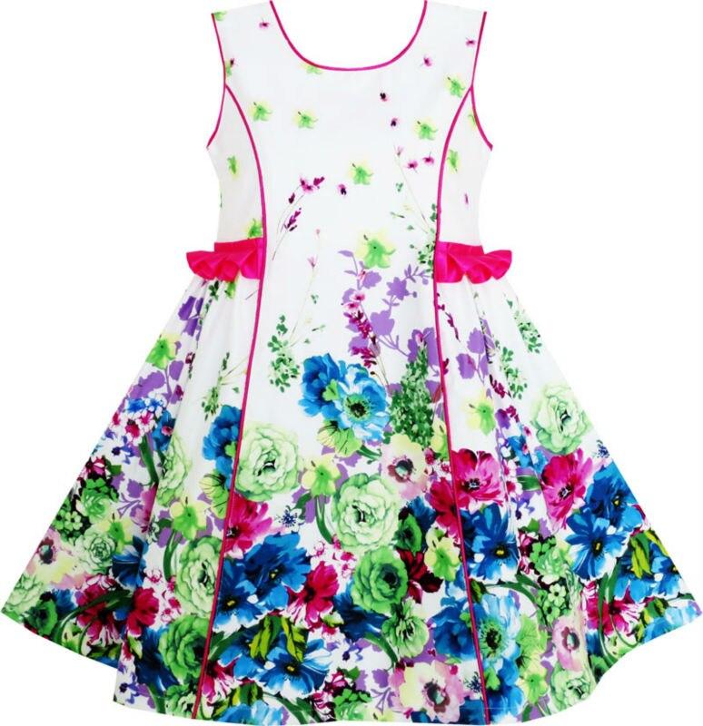 Sunny Fashion Girls Dress Elegant Blooming Rose Flower Garden O-Neck Cotton 2018 Summer Princess Wedding Party Dresses Size 4-10 женское платье summer dress 2015cute o women dress