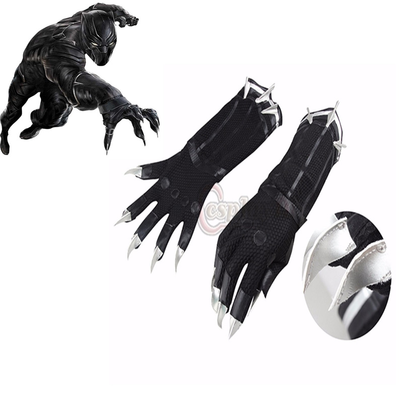 Black Panther Gloves Cosplay Captain America 3 Civil War Adult's Cool Black Gloves Cosplay Accessary for Carnival Party