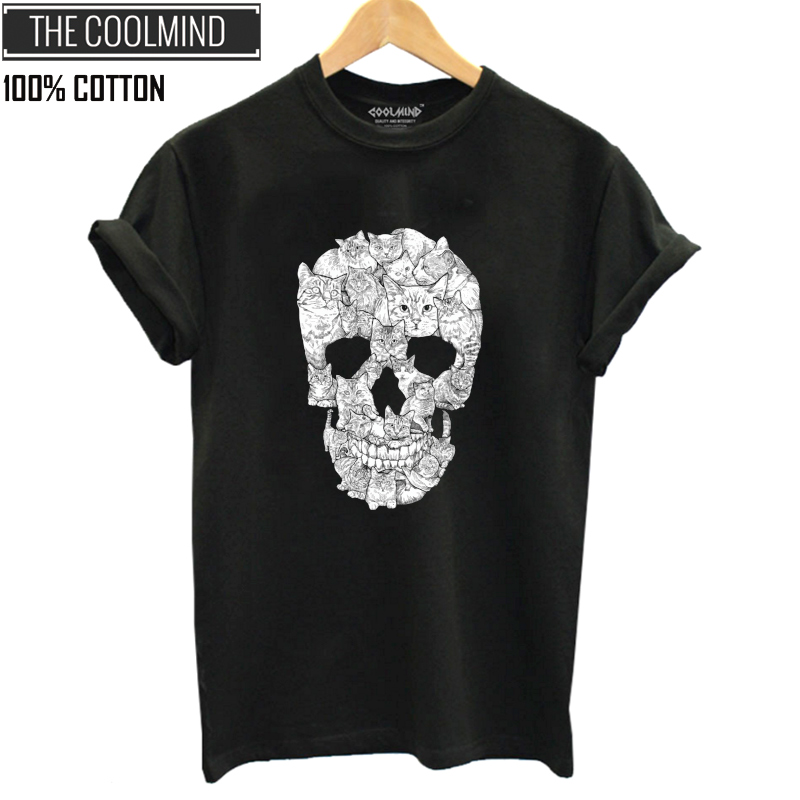 COOLMIND QI0229B 100% Cotton Skull Print Women Tshirt Casual Short Sleeve Women T Shirt Female Loose Summer T-shirt Tee Shirts