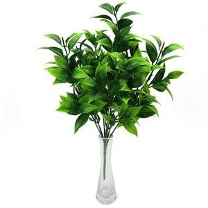 Image 1 - 7 widelców/bukiet 35 liści 34cm sztuczny pomarańczowy liść sztuczne rośliny strona główna balkon pejzaż z ogrodem akcesoria dekoracyjne