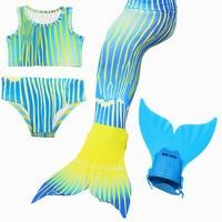 Hot Sale Cosplay costume 4pcs/Set Kids Girl Mermaid Tail Swimsuit Mono fin Swimmable Swimwear Children Mermaid Tails Costume