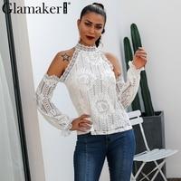 Glamaker Off shoulder white lace blouse shirt Women bodycon blouse elegant Winter sexy shirt 2018 female blusas tops & tees