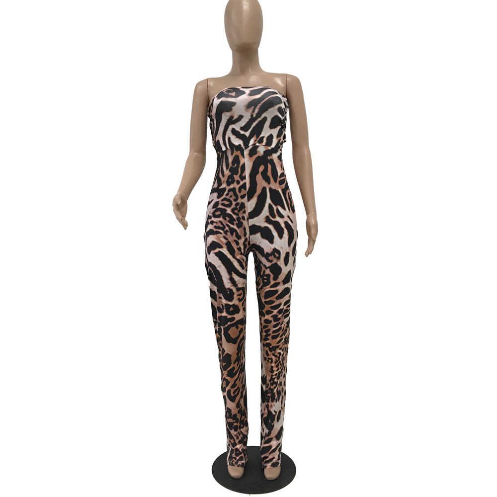 Novo leopardo macacão de impressão digital das mulheres moda sexy slim sem encosto envolto peito macacão