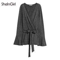 SheInGirl Women Dark Grey Shirts Belt Waist Deep V Neck Long Sleeve Flare Sleeve Casual Blouses
