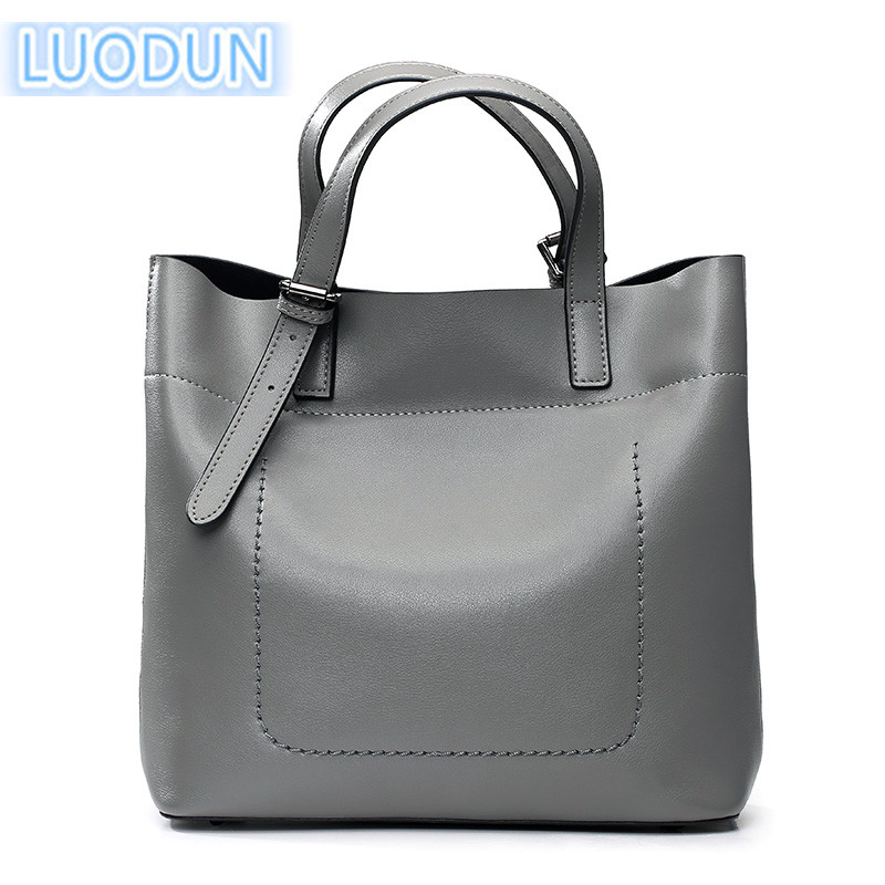 LUODUN 2018 new cowhide handbag simple atmosphere ladies bag Europe and the United States fashion shoulder Messenger bag 2018 new tide in europe and the united states fashion handbag alma handbag shoulder bag free shipping
