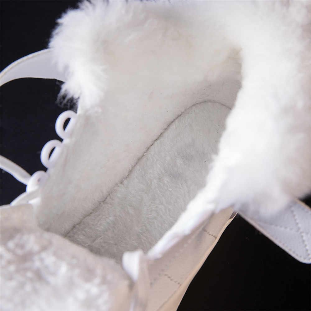 Prova Perfetto kadın Botları 2018 Sıcak Kürk Kar Botları Kadın Dantel up düz ayakkabı Kadın günlük çizmeler Kızlar Kış Spor Ayakkabı