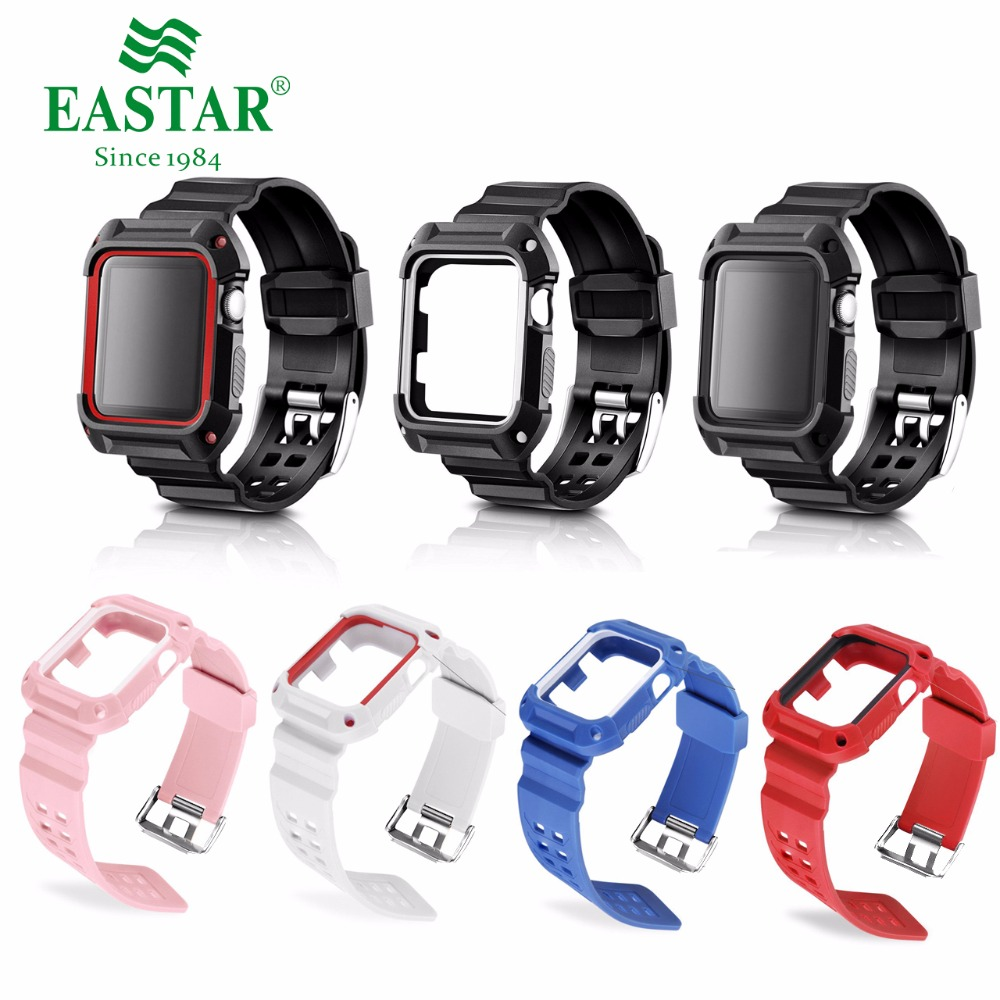 Eastar Plastic Protective Case Shockproof Watchband for Apple Watch Series 3/2/1 Sport 42 mm 38 mm Strap For iwatch Band stylish shining rivet embellished nightclub hip hop street performance baseball cap for women