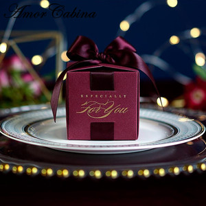 Image 4 - 20 قطعة هدايا الزفاف الإبداعية هدية صندوق حلوى مربع للتعميد استحمام الطفل حفلة عيد ميلاد لوازم التفاف مع الشريط