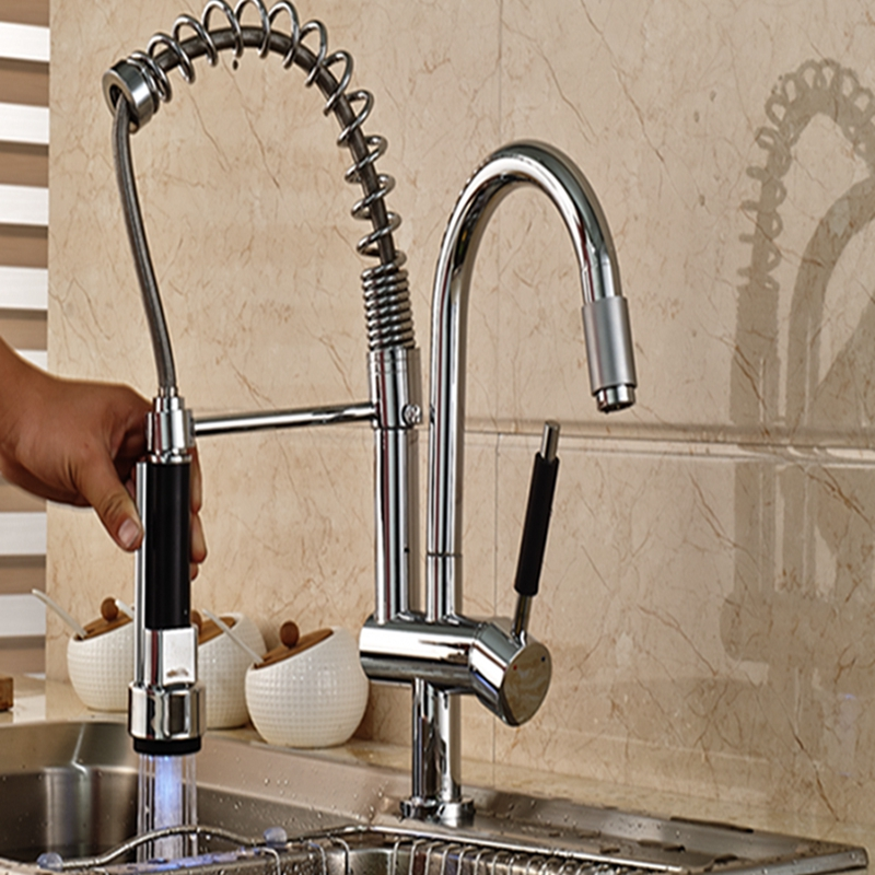 Wholesale And Retail LED Color Changing Chrome Brass Kitchen Faucet Spring Vessel Mixer Tap Single Handle good quality wholesale and retail chrome finished pull out spring kitchen faucet swivel spout vessel sink mixer tap lk 9907