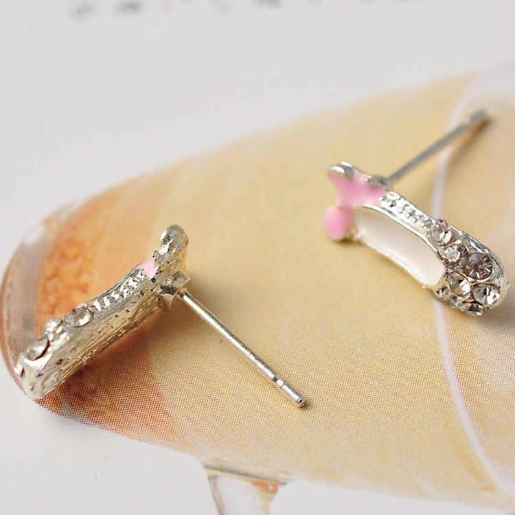 Womens Cô Gái Thời Trang Đồ Trang Sức 1 cặp Đáng Yêu Tinh Tế Rhinestone Bowknot Giày Múa Ba Lê Ear Stud Bông Tai EAR-0190-PK