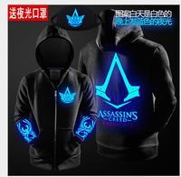 2017 Autumn Winter Assasins Creed Hoodie Men Black Cosplay Sweatshirt Costume Fleece Lined Assassins Creed Mens